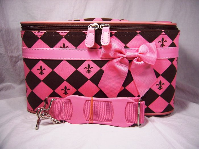Small Pink and Brown Cosmetic Train Case