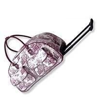 White & Wine Toile Print Rolling Duffle Bag