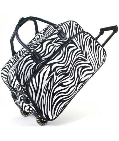 Zebra Print Rolling Duffle Bag