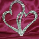 Swarovski Crystal Double Heart  Cake Topper