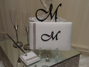 Monogram Cake Topper & Guest Book Package (Black)