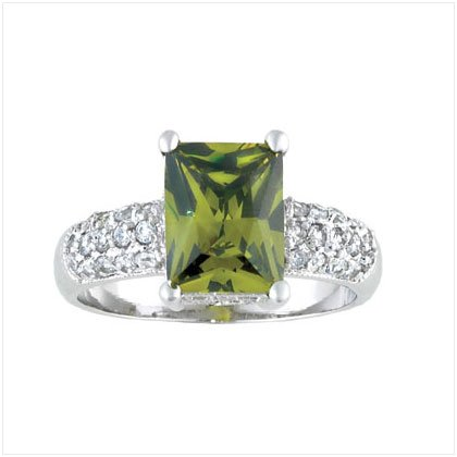 GREEN SQUARE CZ SILVER RING