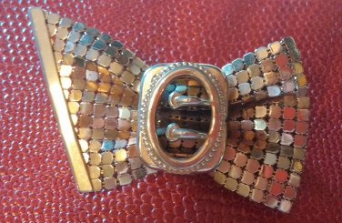 Vintage Gold Mesh Bow Pin Brooch