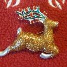 Avon Rhinestone Christmas Sparkly  Reindeer Deer Pin Brooch Lapel Pin