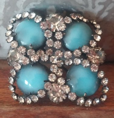 Blue Stones? with Rhinestones Outline,4 Lg Rhinestones Pin Brooch.Coat Pin