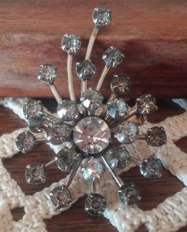 Old Vintage Starburst Star Silver Rhinestone Pin