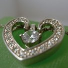 "Vintage Clever 2 in 1 Solitaire Heart Pendant : sterling silver  / 18"" Chain"