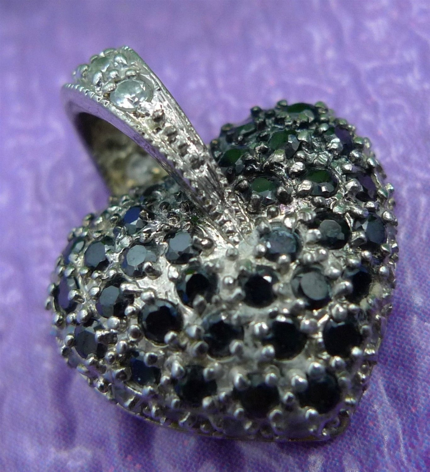 Silver Heart Pendant w/ Black Or Dark Blue and White Cubic Zirconia