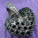 Silver Heart Pendant w/ Black Or Dark Blue and White Cubic Zirconia