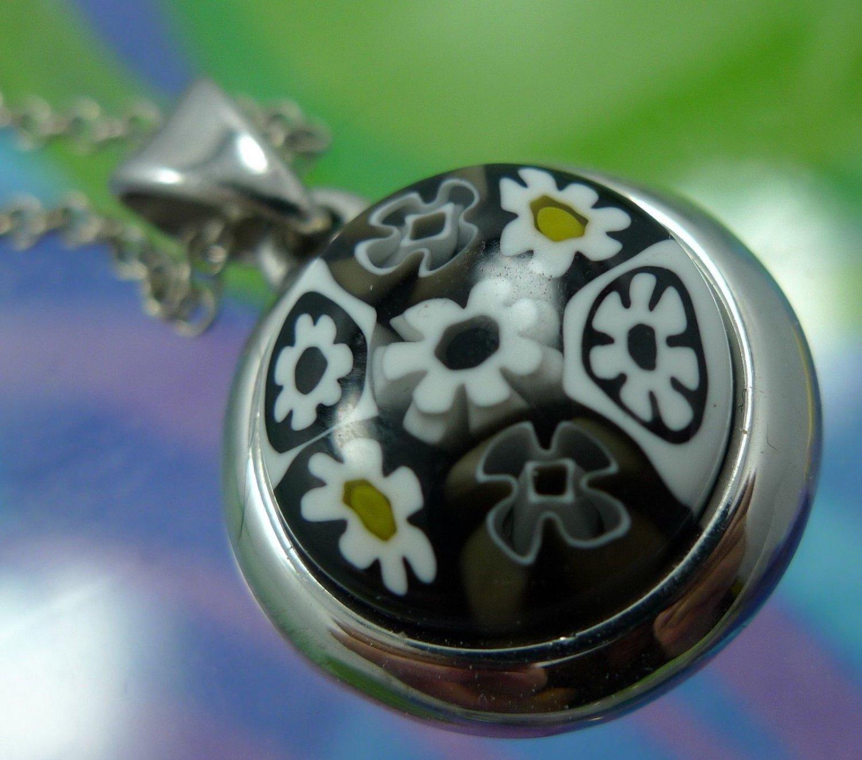 Pendant : Sterling 925 Black White & Yellow Alan K. Millefiori Glass NWOT Chain