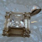 Vintage Retro Or Art Deco Sterling Silver DQ (quality) CZ Square Pendant