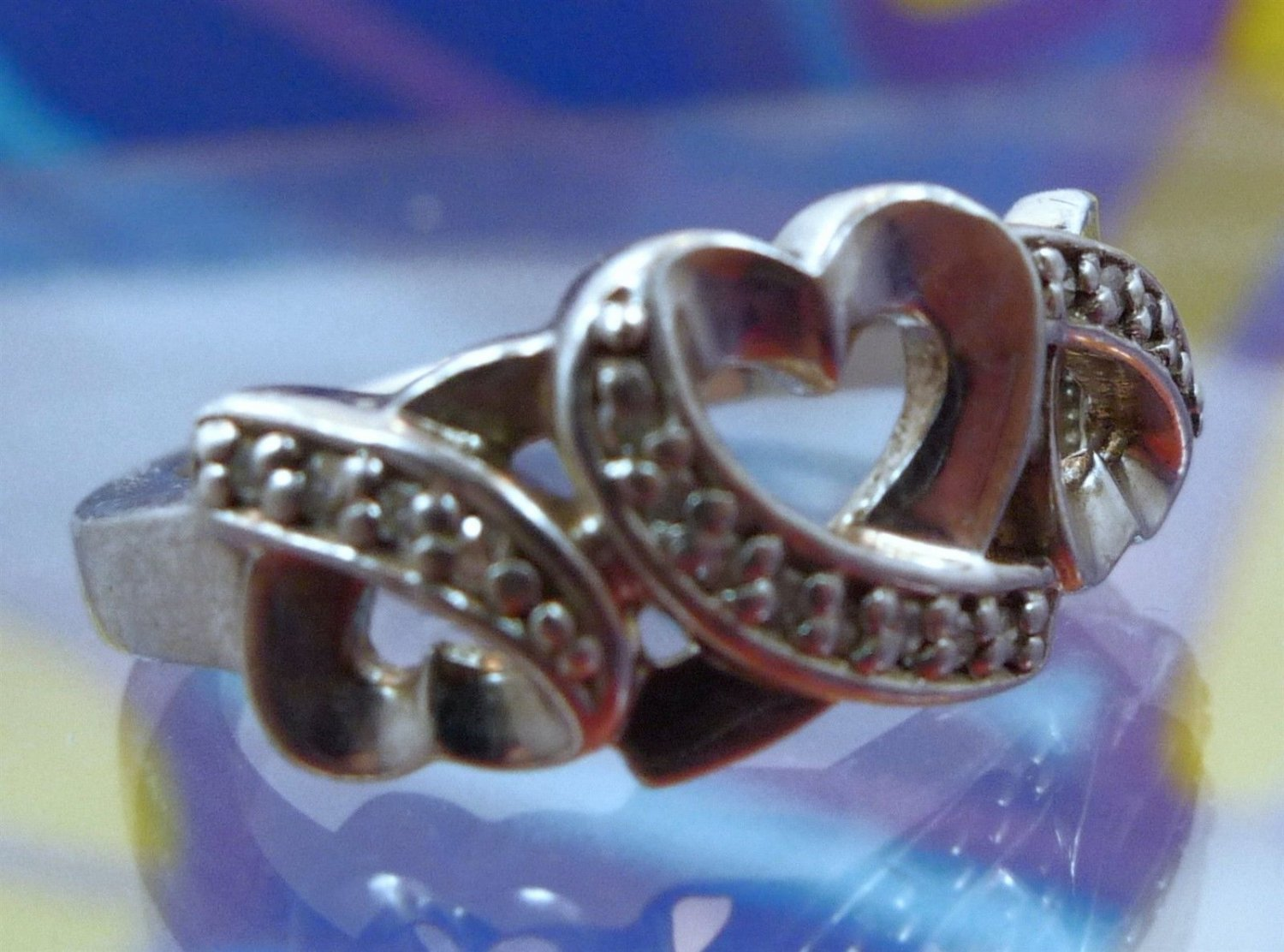 "Size 7 Ring : Open Hearts Sterling 925 Silver Wedding Band w/ Chips signed ""M"""