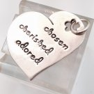INSPIRATIONAL HEART CHARM: sterling FAR FETCHED CHOSEN CHERISHED ADORED