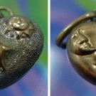 Vintage Puffy Heart Charm 2 TONE Silver & gold Star Sun and Moon