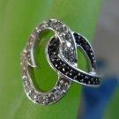 Size 7.5 Ring : sterling 925 silver Unique Setting Black & White CZz