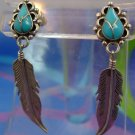 Post Sterling Earrings Turquoise & Feather Native Am Signed Nelvin Chee - Navajo