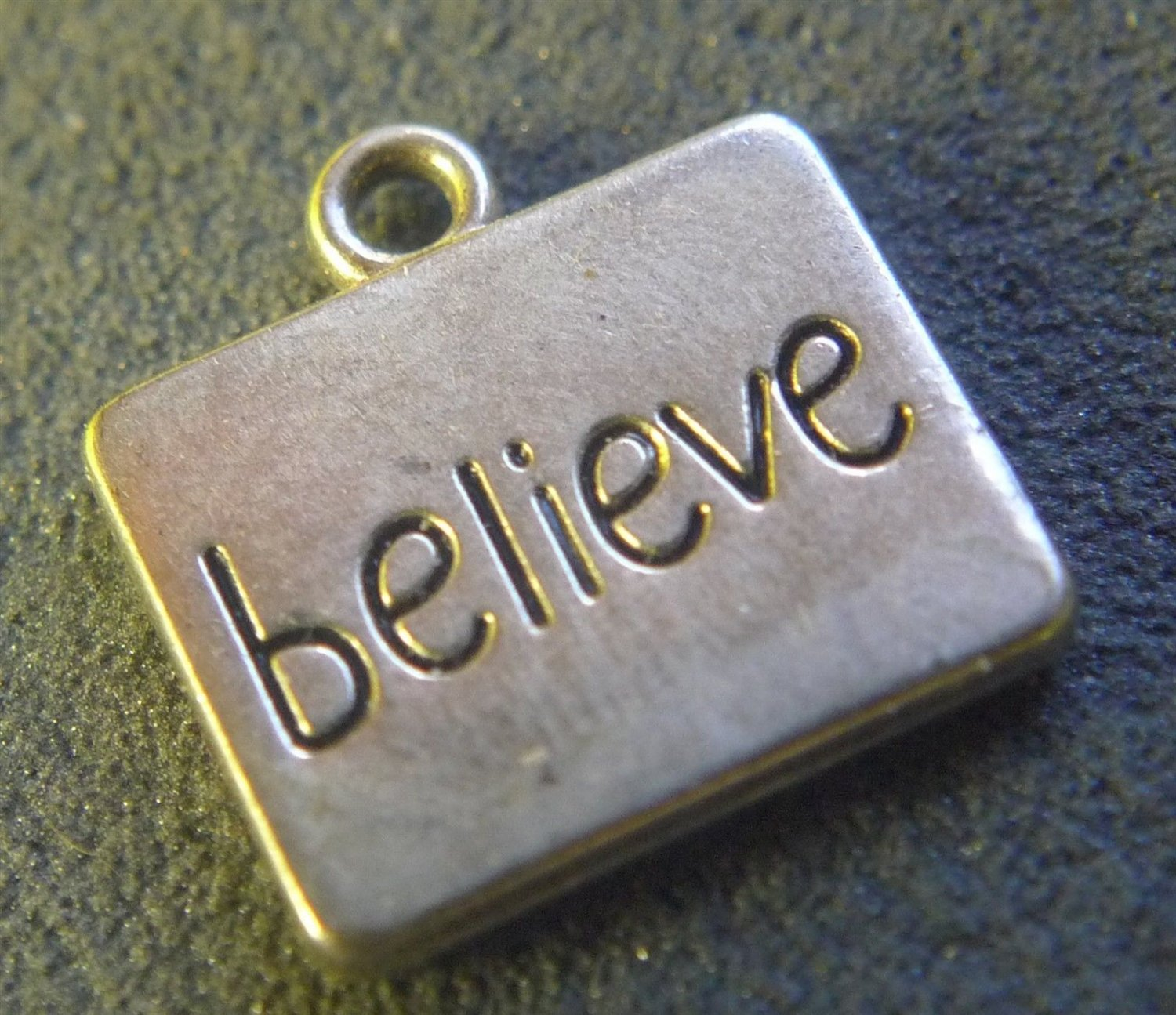 Silver Inspirational BELIEVE Charm