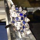 sz 6 RING : sterling silver CLUSTER or COCKTAIL SAPPHIRE BLUE & CLEAR CZs