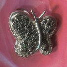 Pave Black Diamond Butterfly Pendant 1/2 Inch  NWOT - Sterling Thailand