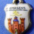 PIRMASSENS Enamel & Silver Travel Shield Souvenir Charm