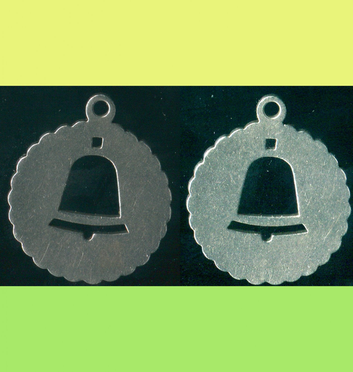 VINTAGE STERLING 925 SILVER BELL STENCIL CHARM signed