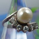 Size 5 Ring : Sterling Silver 7mm Pearl w/ Marquis Rhinestone Accents Signed JC