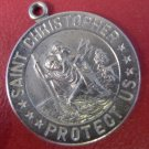 CHARM: sterling RELIGIOUS MEDAL ST CHRISTOPHER PROTECT US NWOT