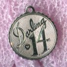 "Vintage ""Darling 14"" Birthday Charm :  Sterling 925 Silver"