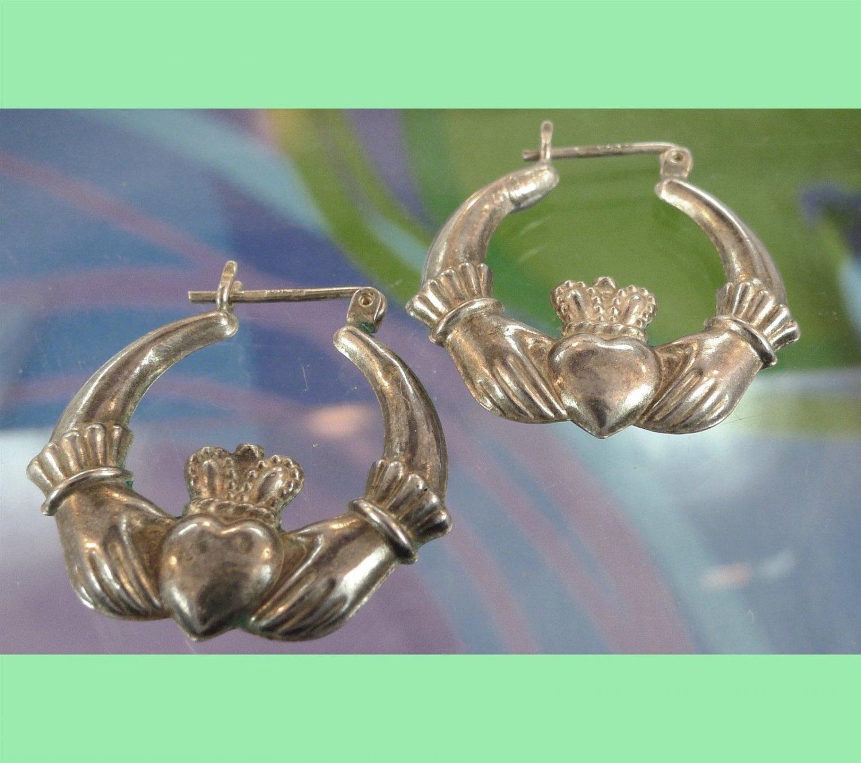 Vintage Claddagh Hoop Earrings : Irish Or British Hallmarked 925 W/ Anchor