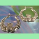 Vintage Claddagh Hoop Earrings : Irish Or British Hallmarked 925 W/ Anchor