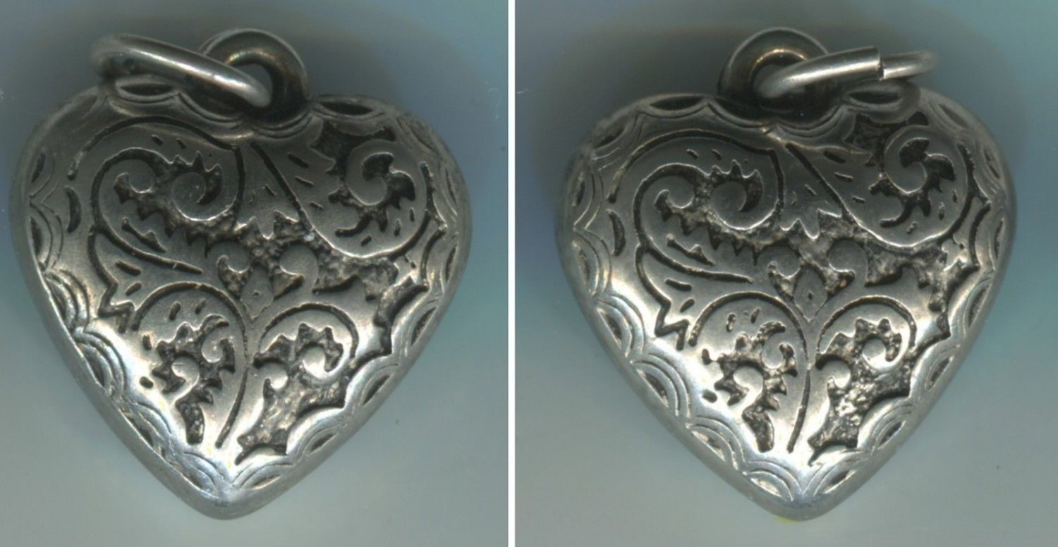 Vintage Detailed Art Nouveau Puffy Silver Heart Charm  #19352