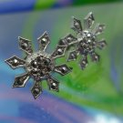 Vintage Marcasite And Sterling Snowflake Screw Back Screwback Earrings