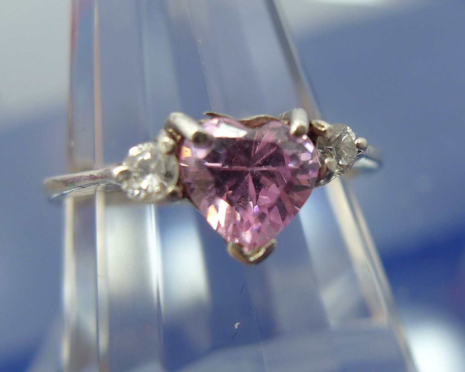 Size 9.25 Ring : Sterling Silver Pink Heart Gemstone W/ Pink Baguettes - Marsala