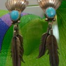 Vintage Silver Native American Earrings Shell Top w/ Long Feathers and Turquoise