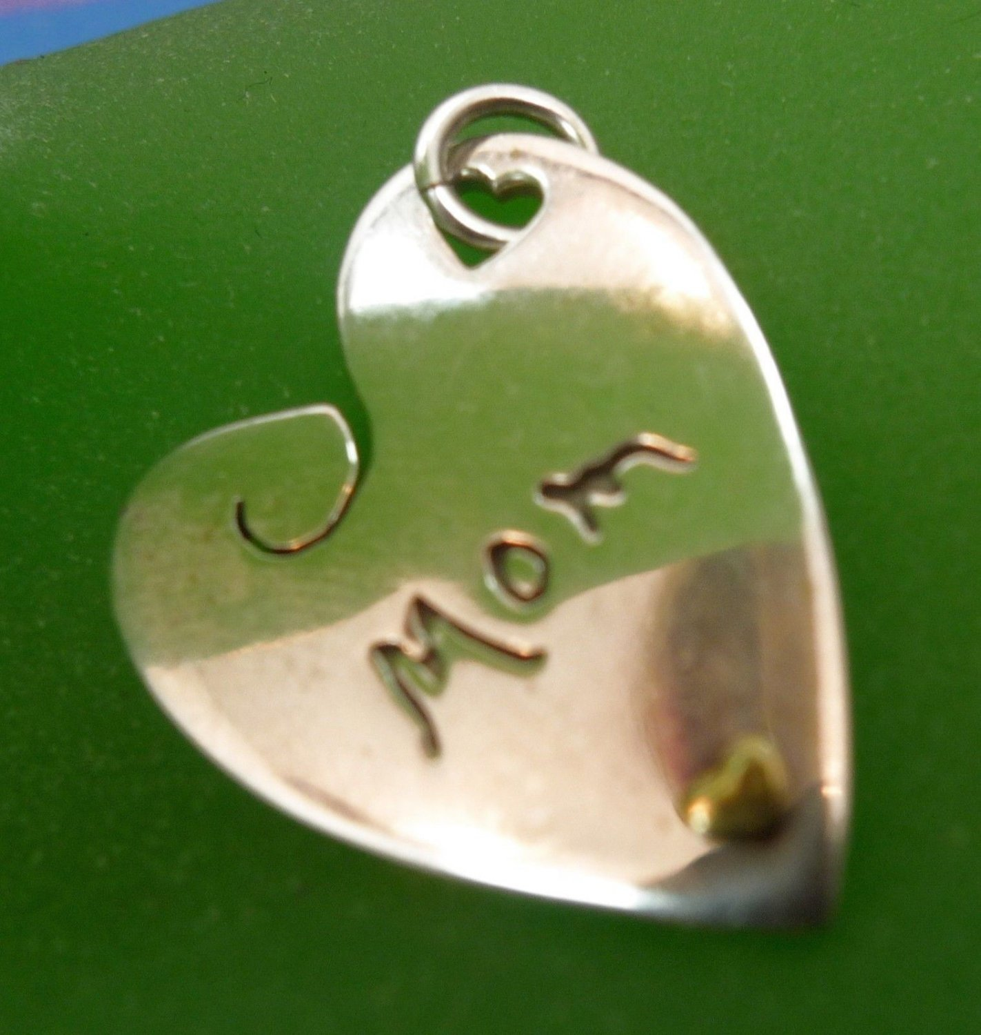 INSPIRATIONAL HEART CHARM: sterling 925 silver BY FAR FETCHED / MOM & LOVE