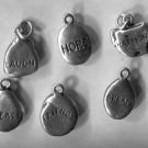 6 Sterling Vintage Inspirational Charms : Laugh Hope Harmony Peace Dream Friends