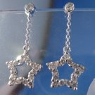 Vintage Post Earrings : Sterling 925 Silver w/ Dangling Multi CZ Stars