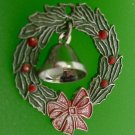 CHRISTMAS CHARM: sterling 925 silver : 2D WREATH w/  3D BELL SIGNED