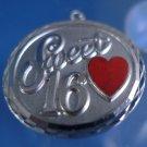 "Vintage ""Sweet 16"" Birthday Charm : Every Girls Favorite w/ RED ENAMEL HEART"