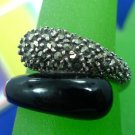 Size 8 Ring : Sterling 925 Silver Marcasite and Onyx Bypass Wrap the Finger