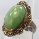 Size 7 Ring : vintage Sterling Setting Oval Green Cabochon & Prong Set Marcasite