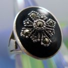 Size 7 Ring : Vintage Onyx and Marcasite Signet Sterling Silver Signed Marsala