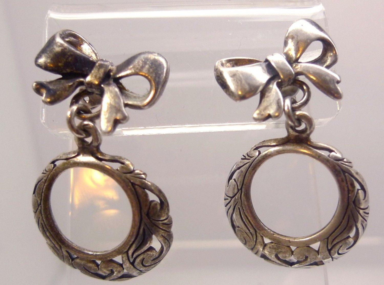 Post Earrings : vintage STERLING 925 SILVER BOW EARRINGS w/ DANGLE