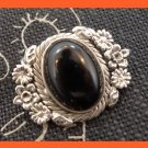 vintage STERLING SILVER and BLACK ONYX PENDANT ROPE & FLOWER FRAMED signed