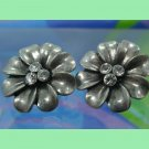 Vintage Flower Pierced Post Earrings : 3 Rhinestone Center : Unmarked Silver