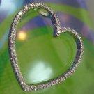 "Sparkling 1.25"" Heart Outline Pendant / Sterling 925 Silver & CZ"