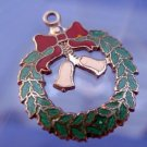 Vintage Sterling and Enamel Christmas Wreath w/ Bells Charm