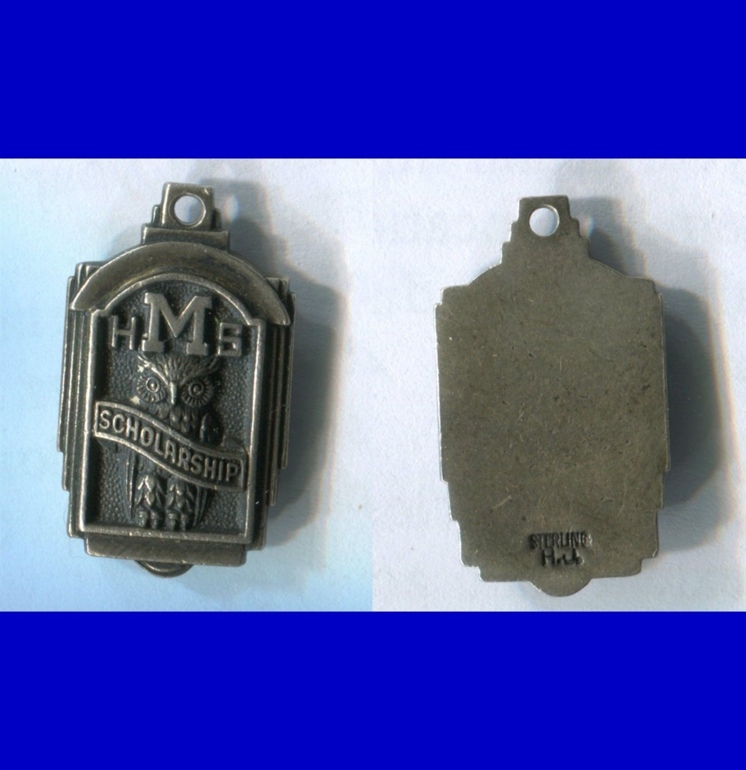 """M"" HIGH SCHOOL SCHOLARSHIP CHARM : STERLING signed H.J."