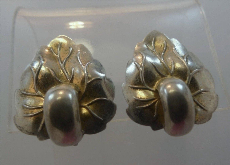 Vintage Earrings : Gold Washed Monet Sterling Silver Clip Leaf Leaves