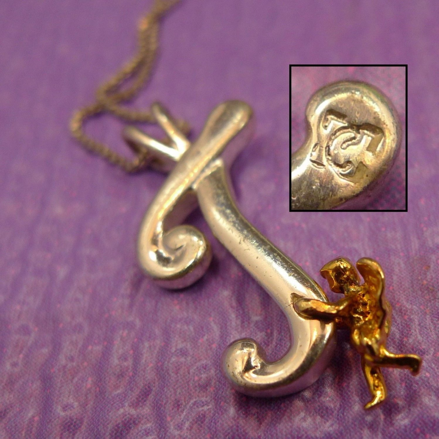 "Signed Sterling Initial Pendant : Angel Holding Letter "" J Or T "" // 18"" Chain"